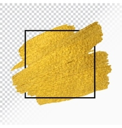 Gold paint stroke with border frame vector
