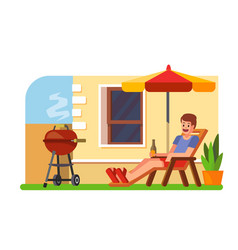 Man lying with a beer on a lounger bbq vector