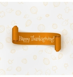 Realistic thanksgiving curved paper banner vector