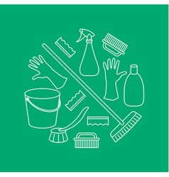 Round combination of household cleaning objects vector image