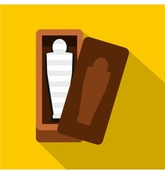 Sarcophagus of an egyptian mummy icon flat style vector