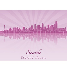 Seattle skyline in purple radiant orchid vector