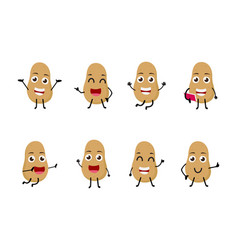 set of funny potato vegetable cartoon character vector image vector image
