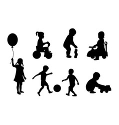 set of silhouettes of children playing vector image vector image