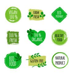 set of vegan logos badges signs hand drawn bio vector image