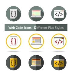 Set of Web Code icons in different flat styles vector image vector image