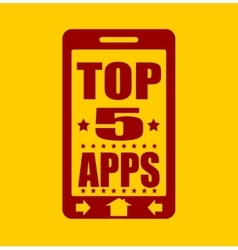 Top five apps text on phone screen vector