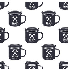 vintage hand drawn camp mug pattern design vector image vector image