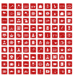 100 police icons set grunge red vector