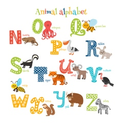 Zoo Cute cartoon animals alphabet from N to Z in vector image