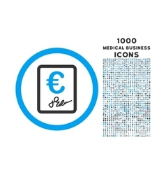 Euro contract rounded icon with 1000 bonus icons vector