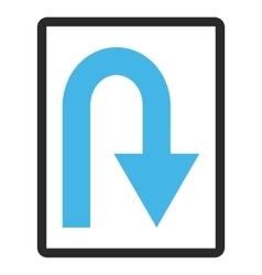 U turn framed icon vector