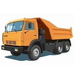 Orange dump truck vector