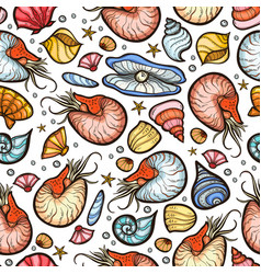 Nautilus and shell seamless pattern vector