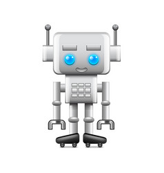 Robot with large square head isolated on white vector