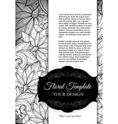 Mohochrome floral template with place for text vector