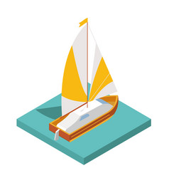 Flat 3d isometric yacht for city map travel vector