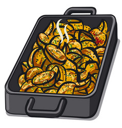 baked grilled potatoes vector image