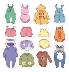 Set of seasonal infant clothes for kids babyish vector