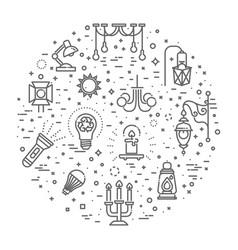 lamp flat icon set vector image