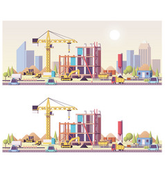 low poly construction site vector image