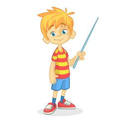 Cartoon little boy in shorts vector