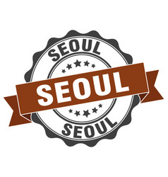 Seoul round ribbon seal vector