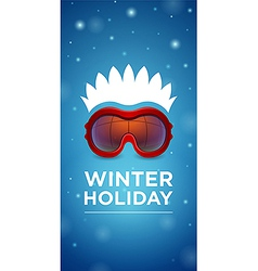Ski goggles and hairstyle winter holiday vector