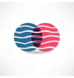 abstract circles with wavy line icon vector image