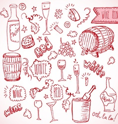 Wine sketch and vintage doodles vector