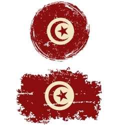 Tunisian round and square grunge flags vector