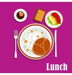 Healthy lunch dishes  salad and drink vector