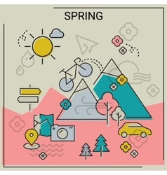 Spring line banners vector