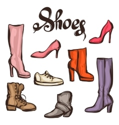 Set of various shoes hand drawn vector