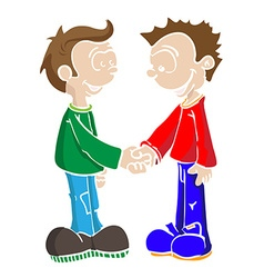 Two boys shaking hands vector