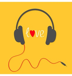 Headphones with red cord love card white text and vector