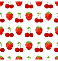 Seamless pattern with strawberries and cherries vector