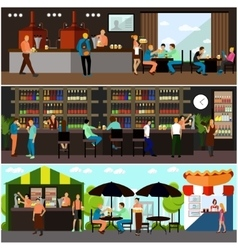 Set of brewery and beer restaurant interior vector