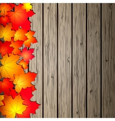 Autumn leaves over wooden background vector