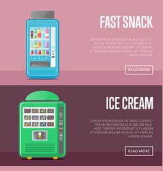 Automatic vending machine flyers set vector