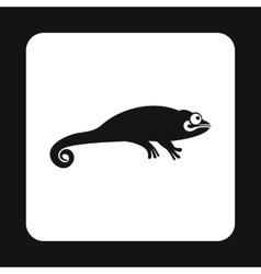 Black chameleon icon simple style vector