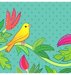 Bright yellow orange little tropical forest bird vector image