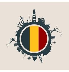 Cargo port relative silhouettes belgium flag vector
