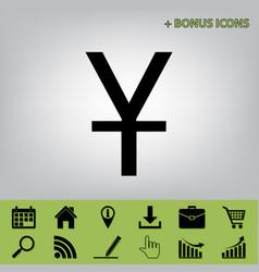 Chinese yuan sign black icon at gray vector