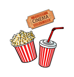 Cinema objects - popcorn bucket soda water and vector
