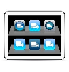 Delivery blue app icons vector image