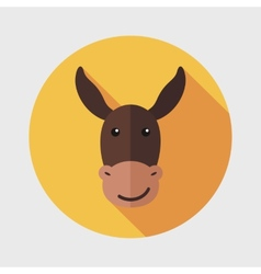 Donkey flat icon with long shadow vector image