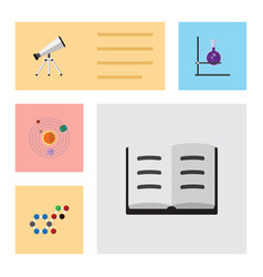 Flat icon study set of molecule scope lecture vector