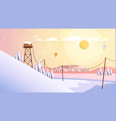 Flat style beautiful winterlandscape vector