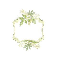 green doodle flower hand drawn frame vector image vector image